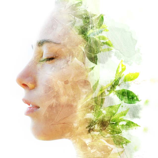 Double exposure close up of a young happy natural beauty and bright shining tropical leaves